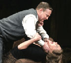 Bill Irwin and Kathleen Turner in the 2004 revival of Edward Albee's 1963 play, 'Whose Afraid of Virginia Woolf?' Photo by Ari Mintz of 'Newsday.'